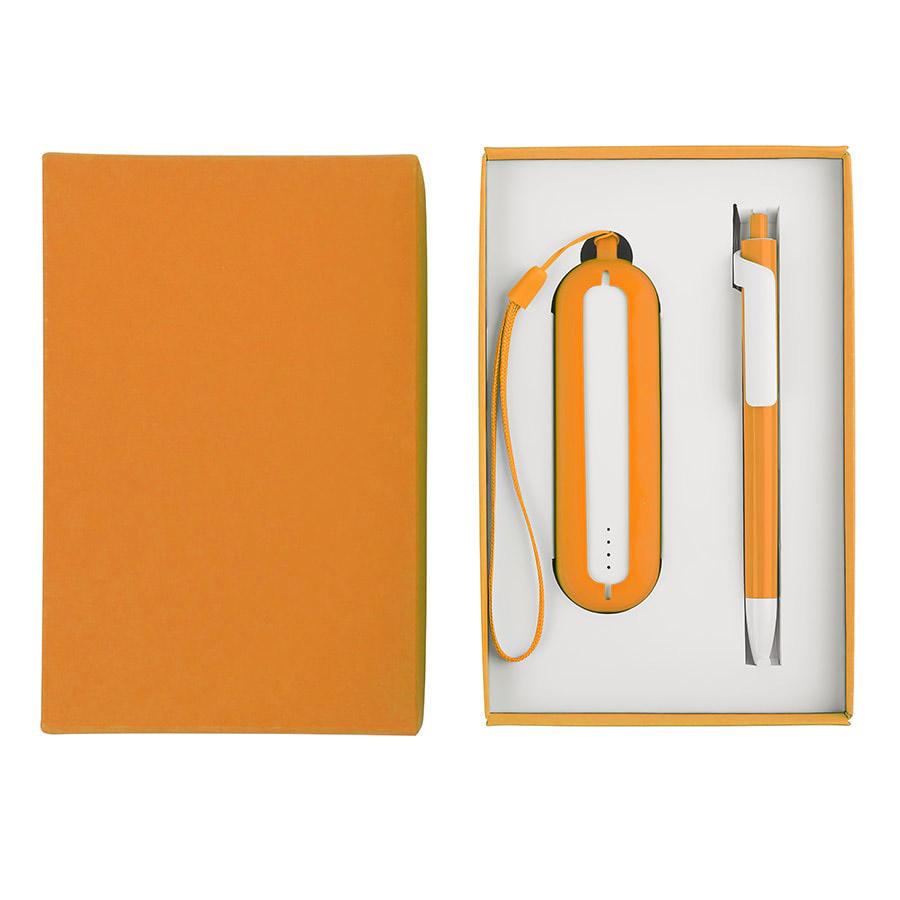 Набор SEASHELL-1:универсальное зарядное устройство(2000 mAh) и ручка в подарочной коробке,оранжевый