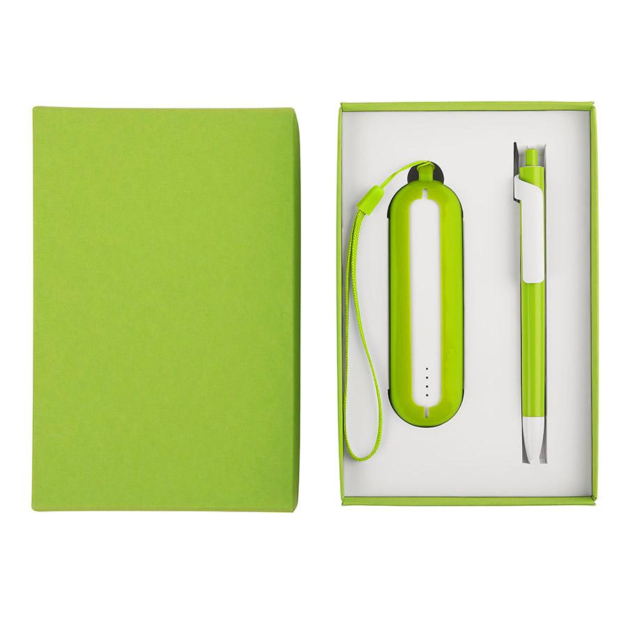 Набор SEASHELL-1:универсальное зарядное устройство(2000 mAh) и ручка в подарочной коробке,светло-зел