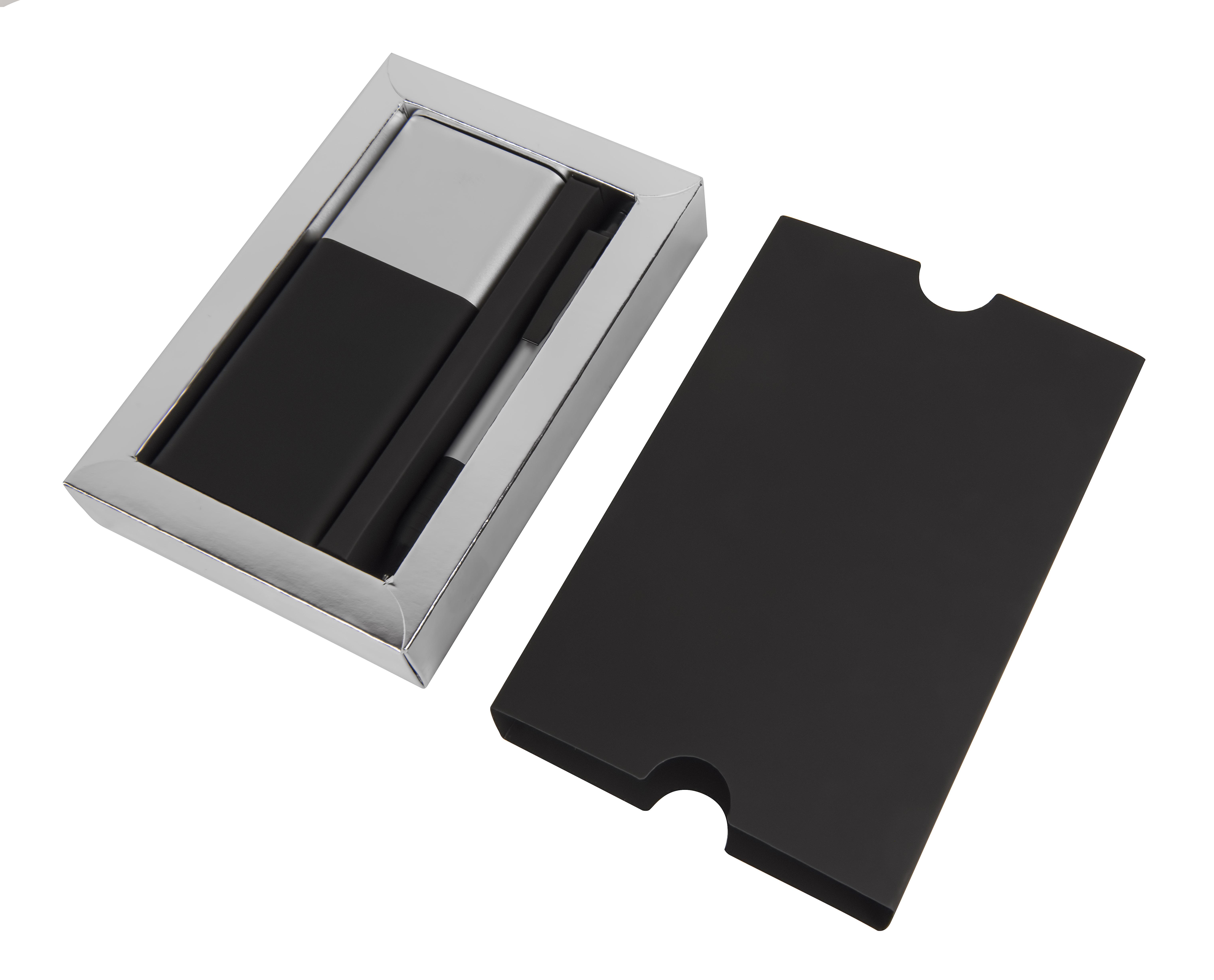 Набор подарочный BLACK GUN; универсальное зарядное устройство(8000мАh) и ручка; серебристый