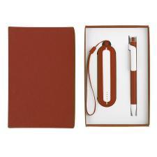 Набор SEASHELL-1:универсальное зарядное устройство(2000 mAh) и ручка в подарочной коробке,красный