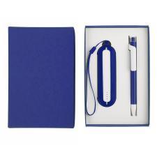 Набор SEASHELL-1:универсальное зарядное устройство(2000 mAh) и ручка в подарочной коробке,синий
