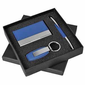 """Набор """"Эксперт"""": визитница, брелок и авторучка; 16,5х16,5х4 см; синий; металл, иск. кожа; лазерная г"""