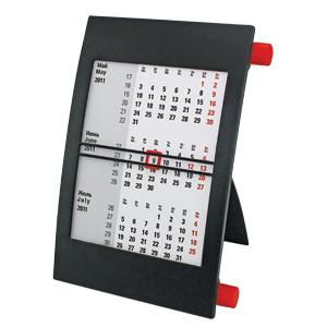 Календарь настольный на 2 года; черный с красным; 18х11 см; пластик; тампопечать, шелкография