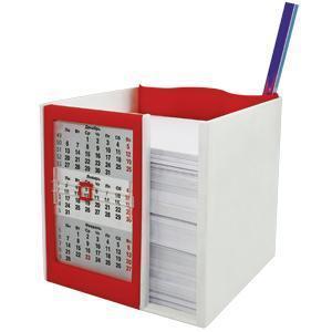 Календарь настольный  на 2 года с кубариком; белый с красным; 11х10х10 см; пластик; шелкография, там