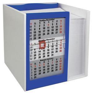 Календарь настольный  на 2 года с кубариком; белый с синим; 11х10х10 см; пластик; шелкография, тампо