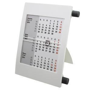 Календарь настольный на 2 года; белый с черным; 18х11 см; пластик; тампопечать, шелкография