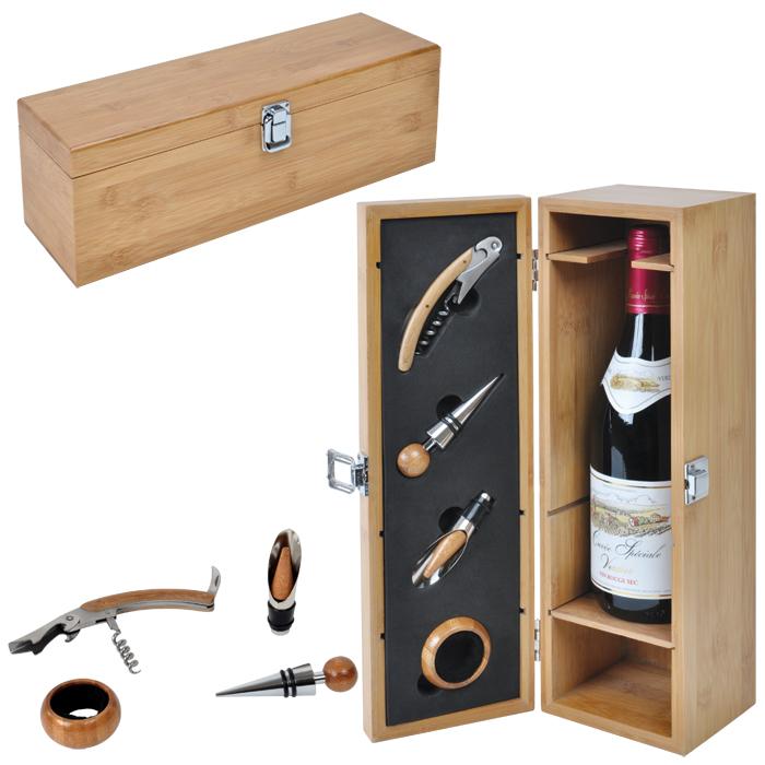 Футляр для бутылки с винными принадлежностями (4 предмета); 36х11,5х12 см; дерево, металл