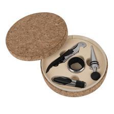 """Набор для вина """"Cork"""" (4 предмета); 15х4см; искусственная кожа, металл; лазерная гравировка"""