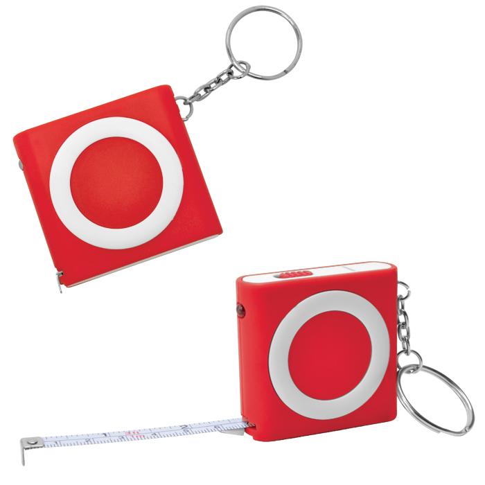 Брелок-рулетка (1м) с фонариком; красная, 5х5х1,2см, пластик