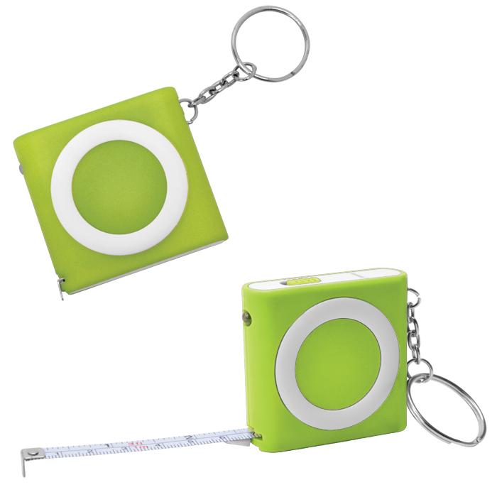Брелок-рулетка (1м) с фонариком; зеленая, 5х5х1,2см, пластик