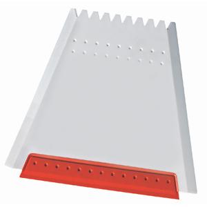 """Скребок автомобильный """"Трапеция""""; белый с красным; 12х11 см; пластик; тампопечать, шелкография"""