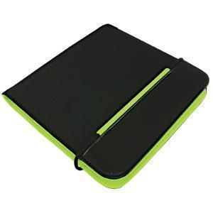 """CD-холдер """"New Style"""" 24 диска; черный/зеленый; 15,8x15,8x1,5 см; полиэстер, микрофибра; шелкография"""