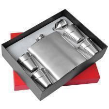 Набор: фляжка , воронка и стаканчики в виде ведер; 530 мл; 85 мл; коробка: 26,5х20,5х5,7 см; металл