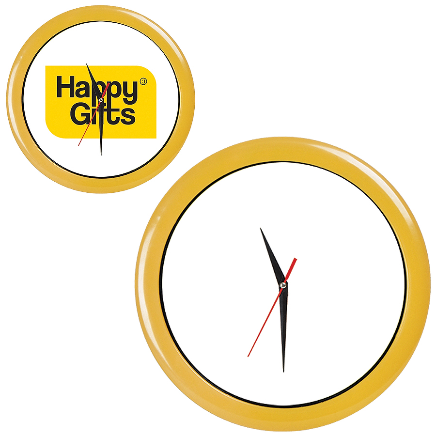 """Часы настенные """"ПРОМО"""" разборные ; желтый,  D28,5 см; пластик/стекло"""