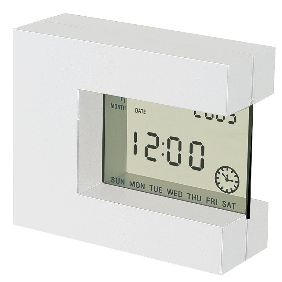 """Часы настольные """"Перевертыш"""" с календарем, будильником, таймером и термометром; 11х9,5х4см; пластик"""