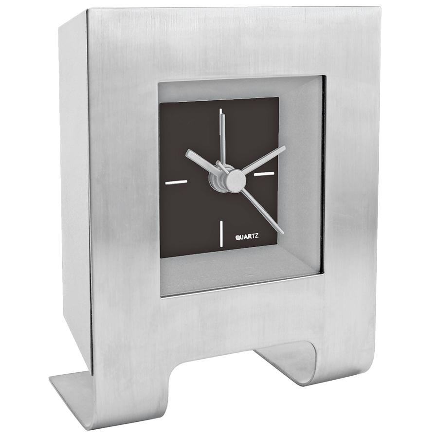 """Часы настольные с будильником """"Дизайн""""; черный; 8,5х4,5х11 см; металл, пластик; лазерная гравировка"""