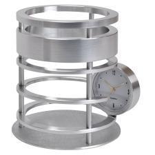 """Часы """"Женева"""" с подставкой для письменных принадлежностей; D=9,5 см, H=11 см; металл; лазер"""