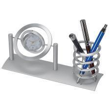 """Часы """"Орбита"""" с подставкой для ручек ; 22х6,5х11 см; металл; лазерная гравировка"""