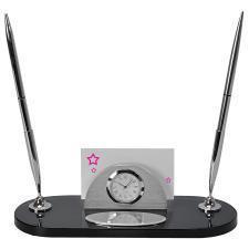 """Набор настольный """"Бизнес"""": часы, подставка для визиток, 2 авторучки; 21,5 x 8,5 x 8, 7 см; металл"""