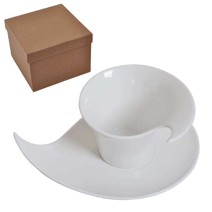 """Чайная/кофейная пара """"Наваждение"""" в подарочной упаковке, 18,5х14х10,5см, 150 мл, фарфор"""