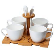 """Набор """"Ксю"""":чайная пара (4шт) и чайная ложка (4шт) с подставкой в подарочной упаковке,200мл,фарфор,"""
