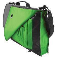 """Конференц-сумка """"Pilot""""; черный с зеленым; 38х27х7 см; полиэстер; шелкография"""