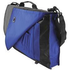 """Конференц-сумка """"Pilot""""; черный с синим; 38х27х7 см; полиэстер; шелкография"""