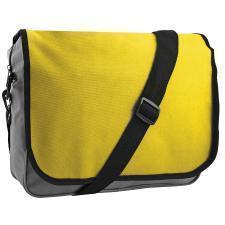 "Конференц-сумка ""College""; серый с желтым; 38х30х9,5 см; полиэстер; шелкография"