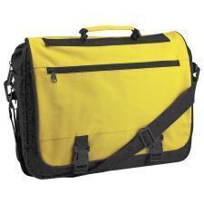 "Конференц-сумка ""Expo""; черный с желтым; 39х29х9 см; полиэстер. шелкография"