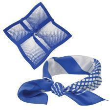 "Платок ""Ufficio"", шелк 100%, синий, 53x53 см"