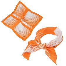 "Платок ""Ufficio"", шелк 100%,  оранжевый, 53x53 см"