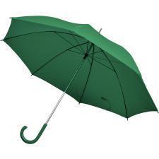 Зонт-трость с пластиковой ручкой, механический; зеленый; D=103 см; нейлон; шелкография
