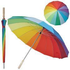 """Зонт-трость """"Радуга"""" (полуавтомат), D=110см, нейлон, дерево, шелкография"""