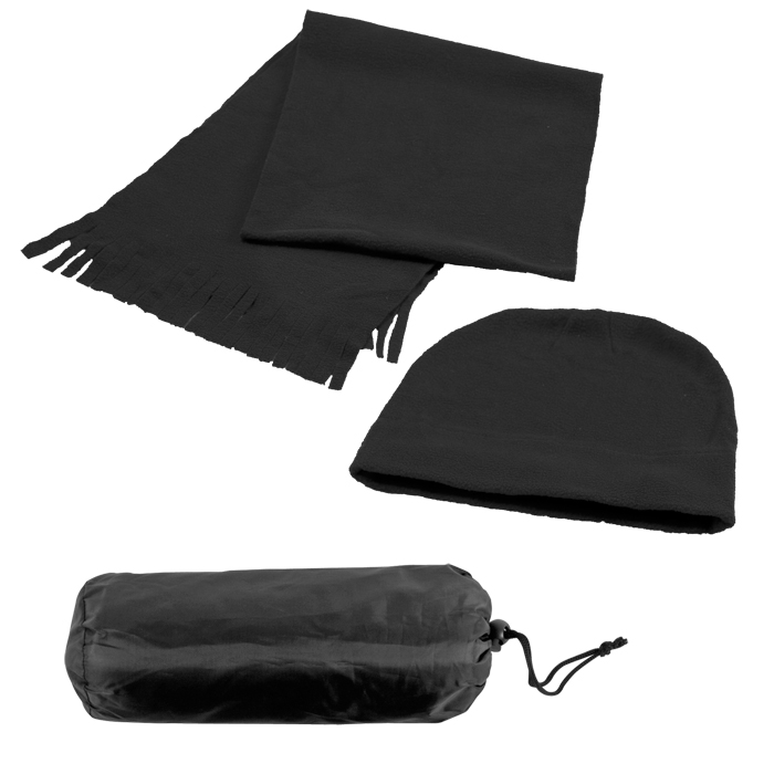 """Флисовый набор """"Winter"""" шапка и шарф в чехле, черный, 180 гр/м2"""