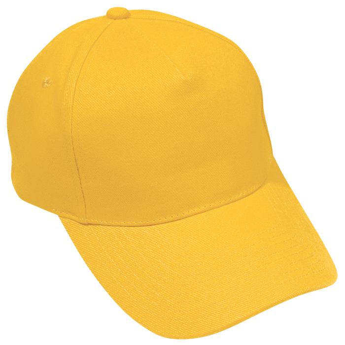 """Бейсболка """"Премиум"""", 5 клиньев, металлическая застежка; желтый; 100% хлопок; плотность 350 г/м2"""