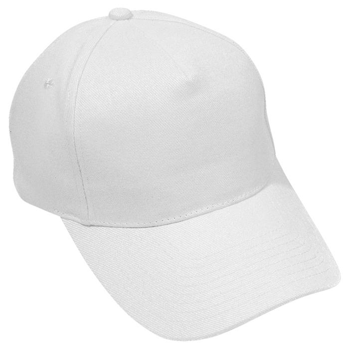 """Бейсболка """"Стандарт"""", 5 клиньев, металлическая застежка; белый; 100% хлопок; плотность 175 г/м2"""