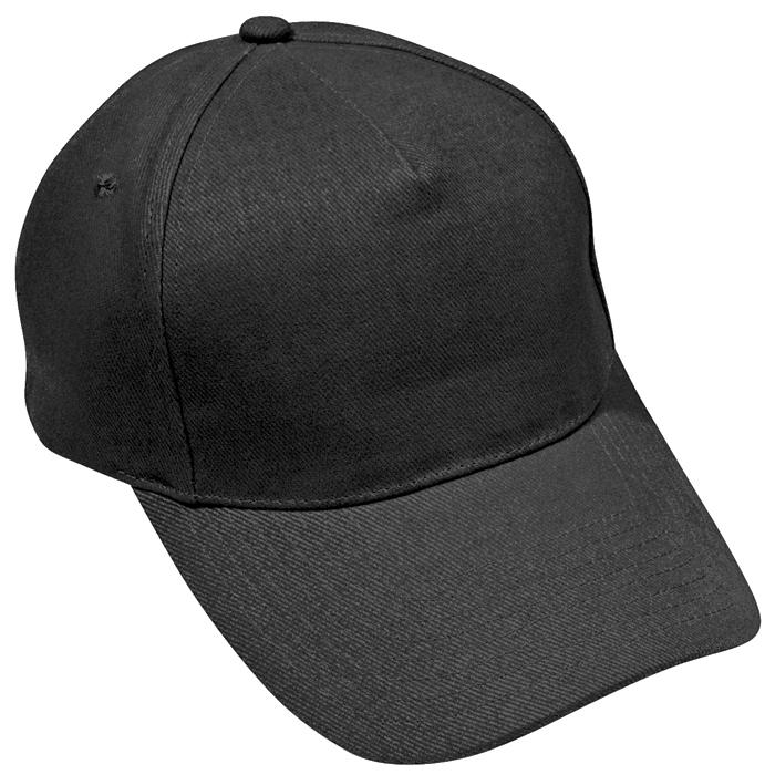 """Бейсболка """"Стандарт"""", 5 клиньев, металлическая застежка; черный; 100% хлопок; плотность 175 г/м2"""