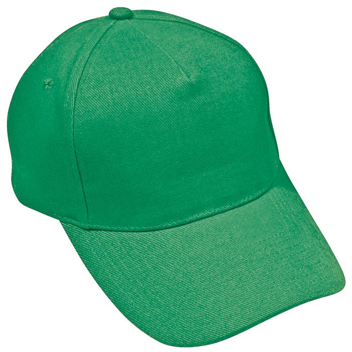 """Бейсболка """"Стандарт"""", 5 клиньев, металлическая застежка; ярко-зелён; 100% хлопок; плотность 175 г/м2"""
