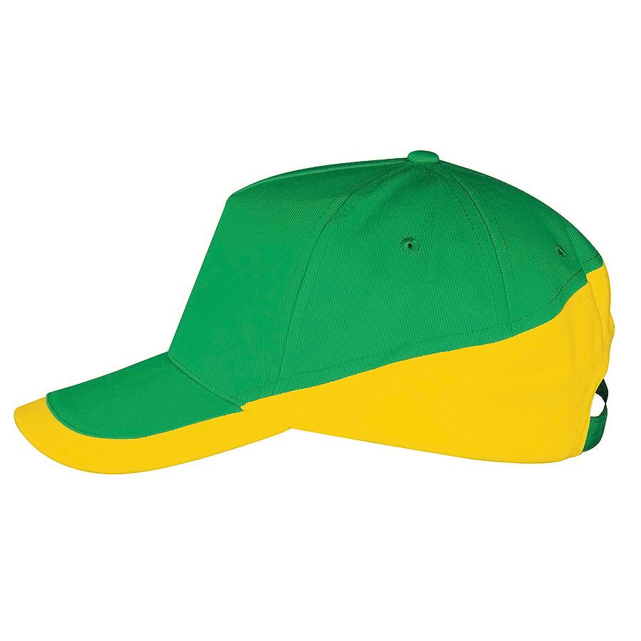 """Бейсболка """"Booster"""" 5 клиньев, желто-зеленый, белый, 100% хлопок с начесом, 260г/м2"""