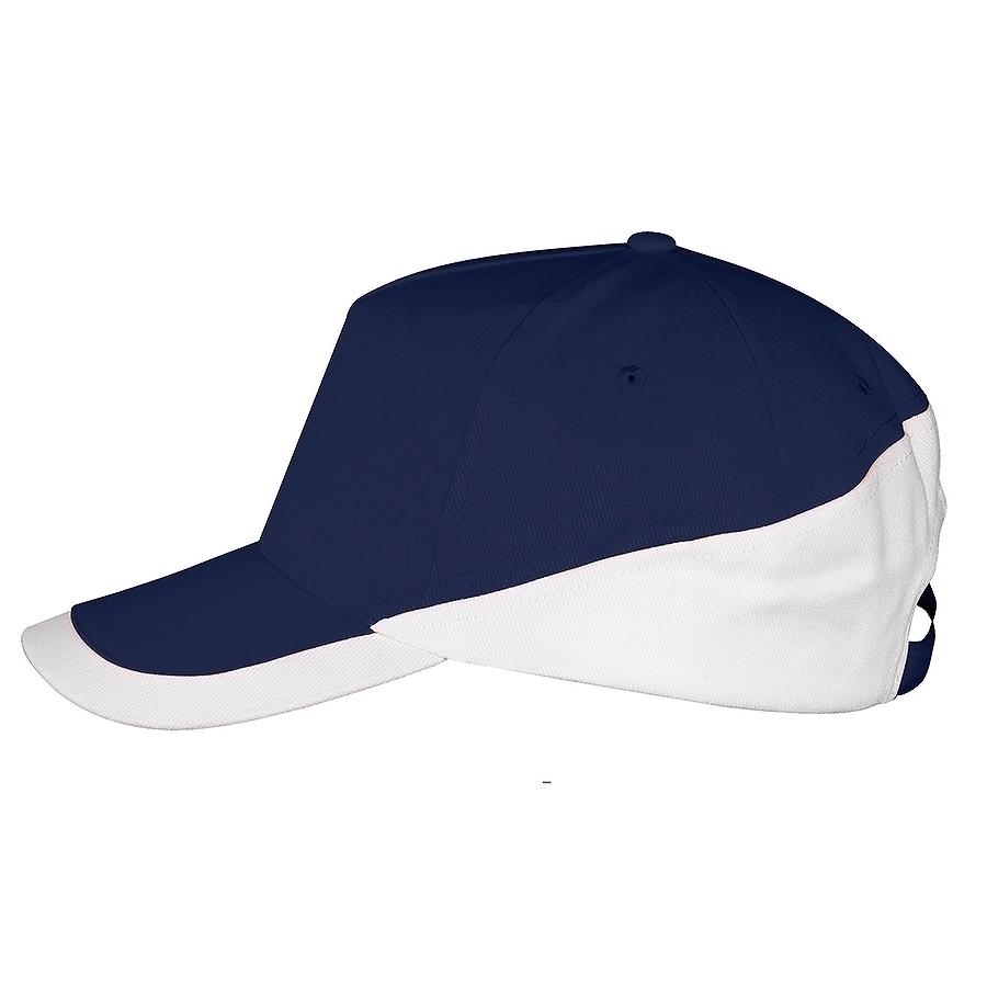 """Бейсболка """"Booster"""" 5 клиньев, темно-синий, белый, 100% хлопок с начесом, 260г/м2"""