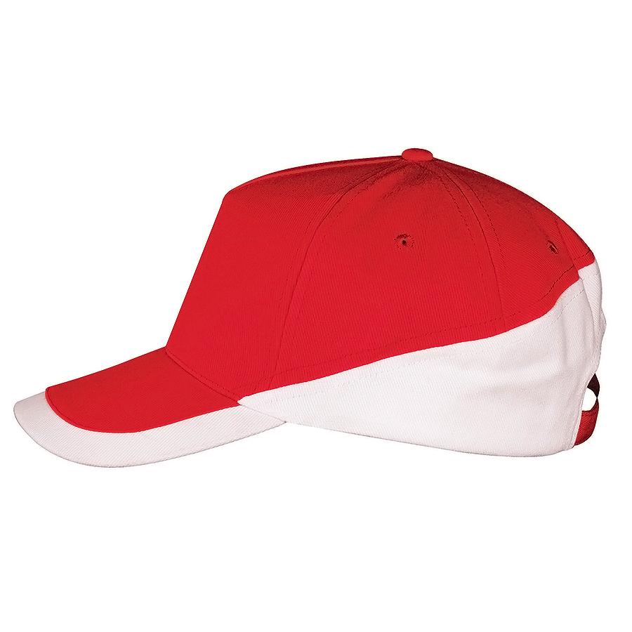 """Бейсболка """"Booster"""" 5 клиньев, красный, белый, 100% хлопок с начесом, 260г/м2"""
