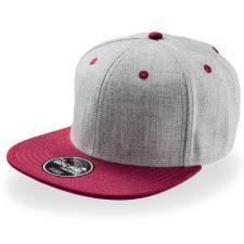"""Бейсболка """"FADER """", 6 клиньев, плоский козырек, застежка ПВХ; красный с серым; купол 85% акрил, 15%"""