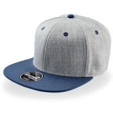 """Бейсболка """"FADER """", 6 клиньев, плоский козырек, застежка ПВХ; темно синий с серым; купол 85% акрил,"""