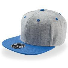 """Бейсболка """"FADER """", 6 клиньев, плоский козырек, застежка ПВХ; синий с серым; купол 85% акрил, 15% ше"""