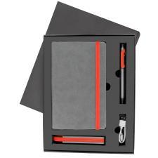 Набор  FANCY:универсальное зарядное устройство(2200мАh), блокнот и ручка в подарочной коробке,красны