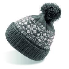 """Шапка вязаная с снежинками и помпоном """"FLAKE""""_темно-серый,100% акрил"""