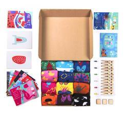 """Подарочный набор """"12 месяцев"""", 12 пар тематических носков и авторский календарь"""