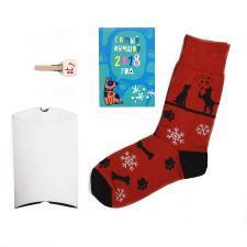 """Подарочный набор """"Счастливый год"""", упаковка, прищепка с шильдом, календарь 2018, носки тематические"""