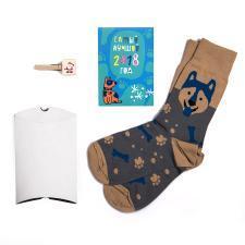 """Подарочный набор """"Хаски"""", упаковка, прищепка с шильдом, календарь 2018, носки тематические"""