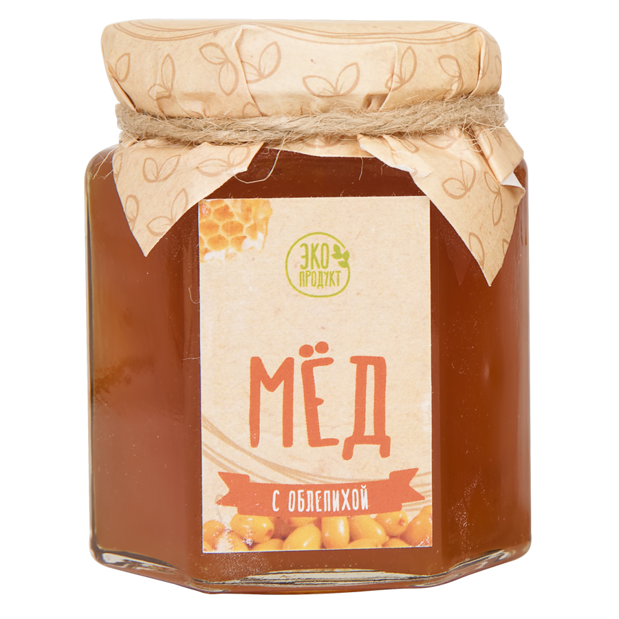 """Мед цветочный  """"С облепихой""""; натуральный; диаметр 7 см."""